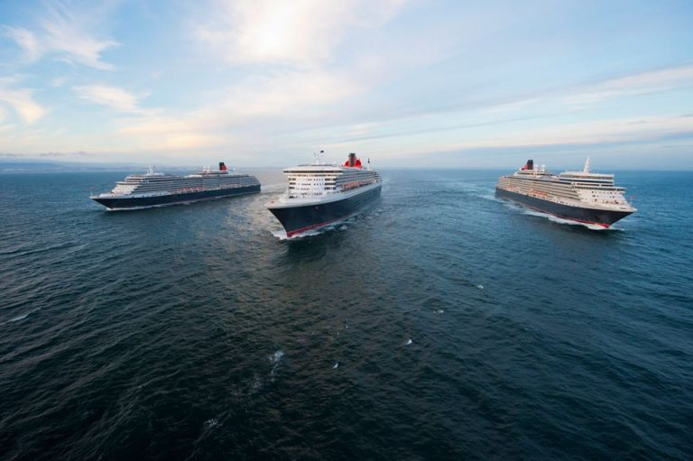 Photos Of All 3 Cunard Ships Off Coast Of Lisbon, Portugal