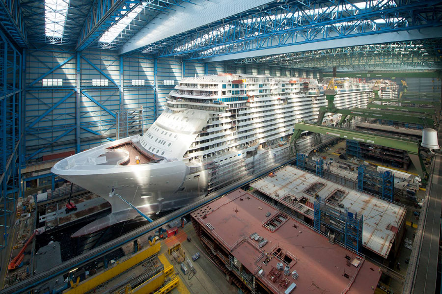 Watch Norwegian Escape Float Out From Building Dock