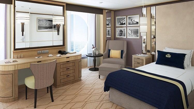 Large Britannia Single stateroom rendering (PRNewsFoto/Cunard)