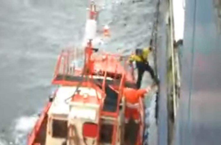 Shocking Video Shows Ship Pilot Falling Into Water