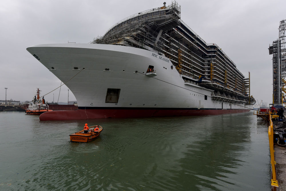 new generation msc seaside cruise ship floated out