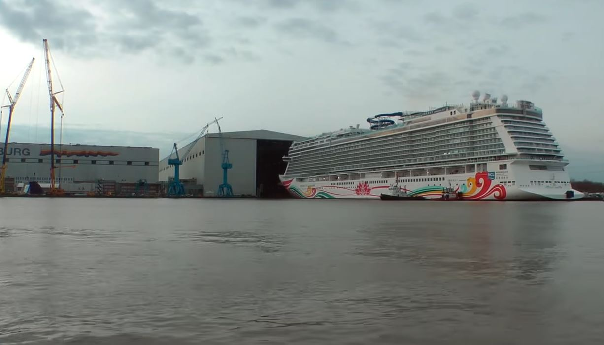 Norwegian Joy Cruise Ship Floated Out Of Construction Hall - How do cruise ships float