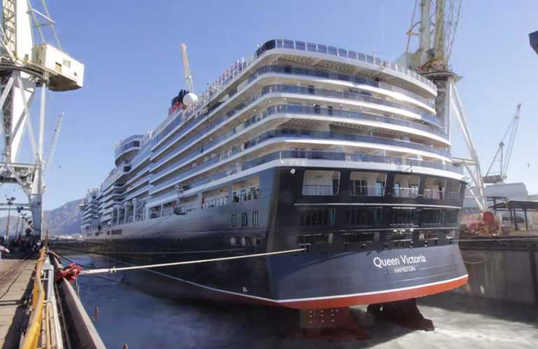 Cunard Cruise Ship Resumes Service After Major Dry Dock - Docked cruise ship