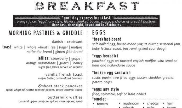 Port Day Dining Room Breakfast Menu, Carnival Cruise Line