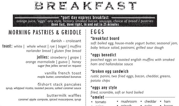 Port Day Dining Room Breakfast Menu, Carnival Cruise Line