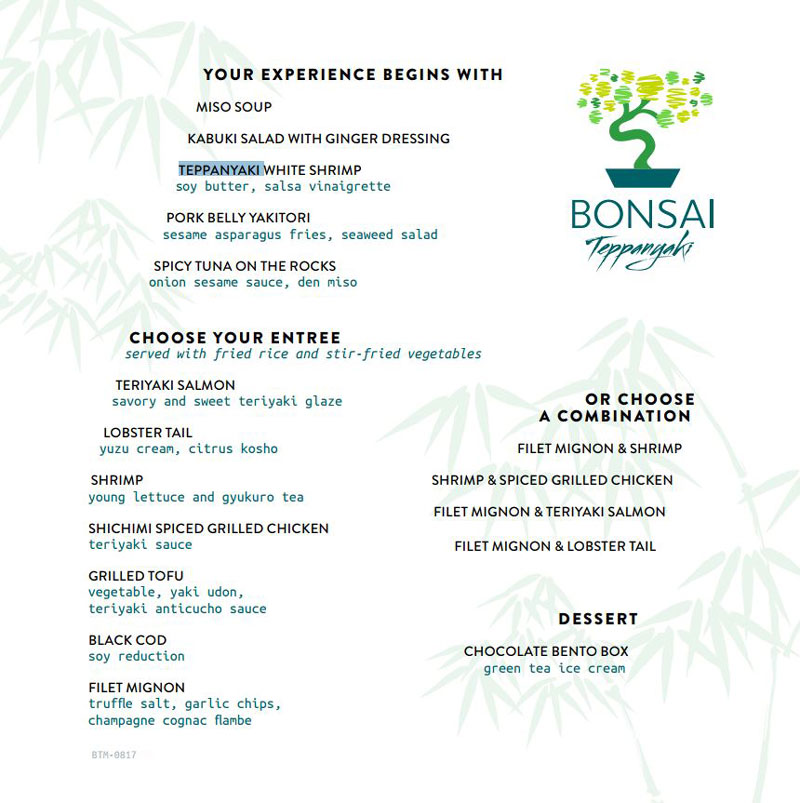 Carnival Horizon Bonsai Teppanyaki Menu