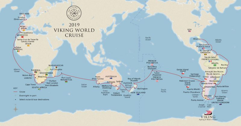 2019 Viking World Cruise Map