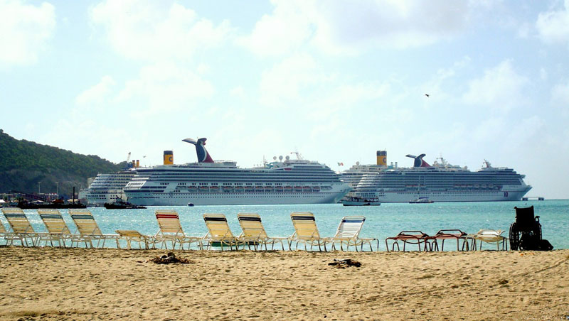 Cruise Ships In Caribbean Port