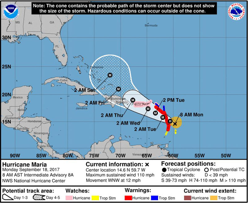 Hurricane Maria, Category 2
