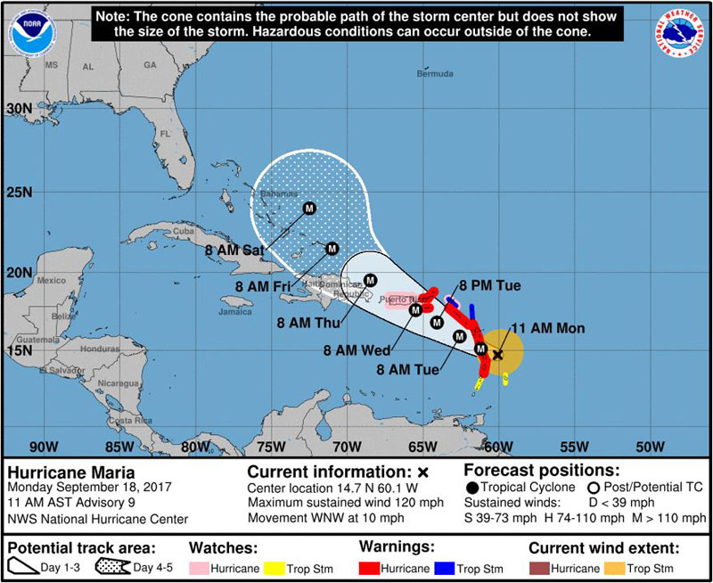 Hurricane Maria Track, Category 3
