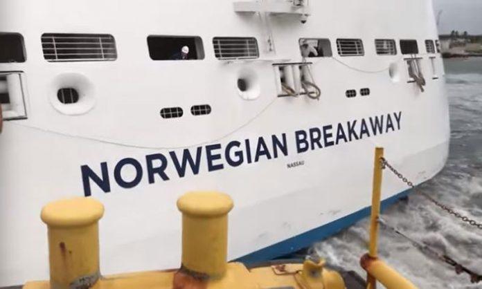 Norwegian Breakaway Inches away From Barge