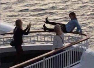 Cruise Passenger on Aurora Railings