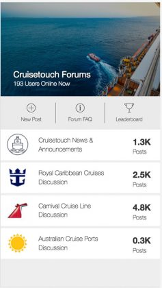 Cruisetouch, Forums