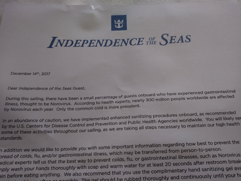 Independence of the Seas, Letter