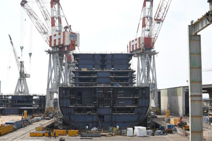 First Virgin Cruise Ship Construction Photo