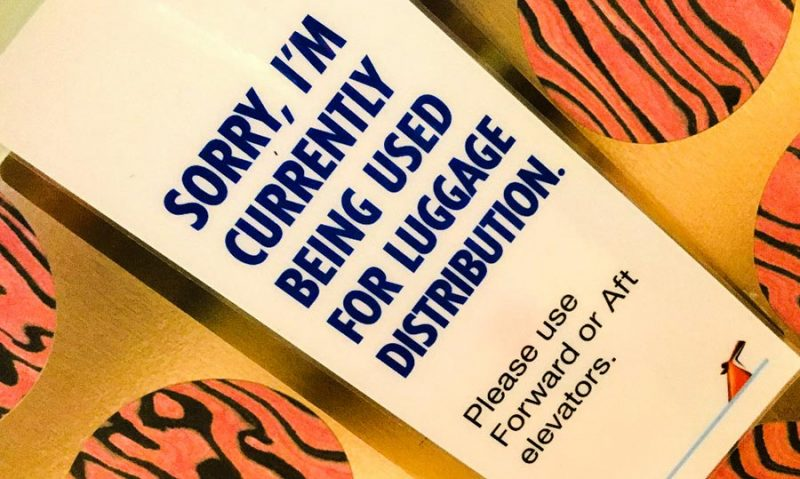 Carnival Luggage Elevator Sign