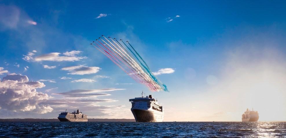 Cunard Queens Meet Red Arrows