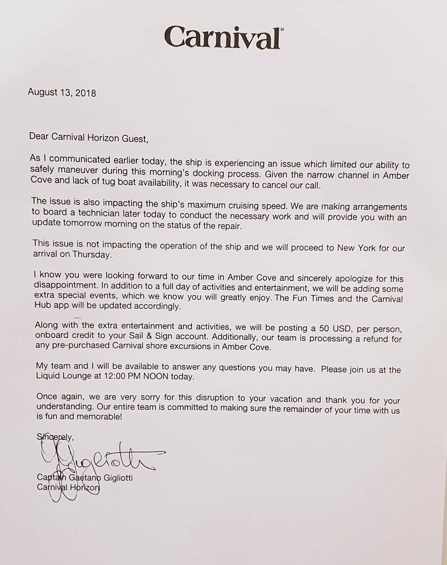 Carnival Horizon Captain Letter