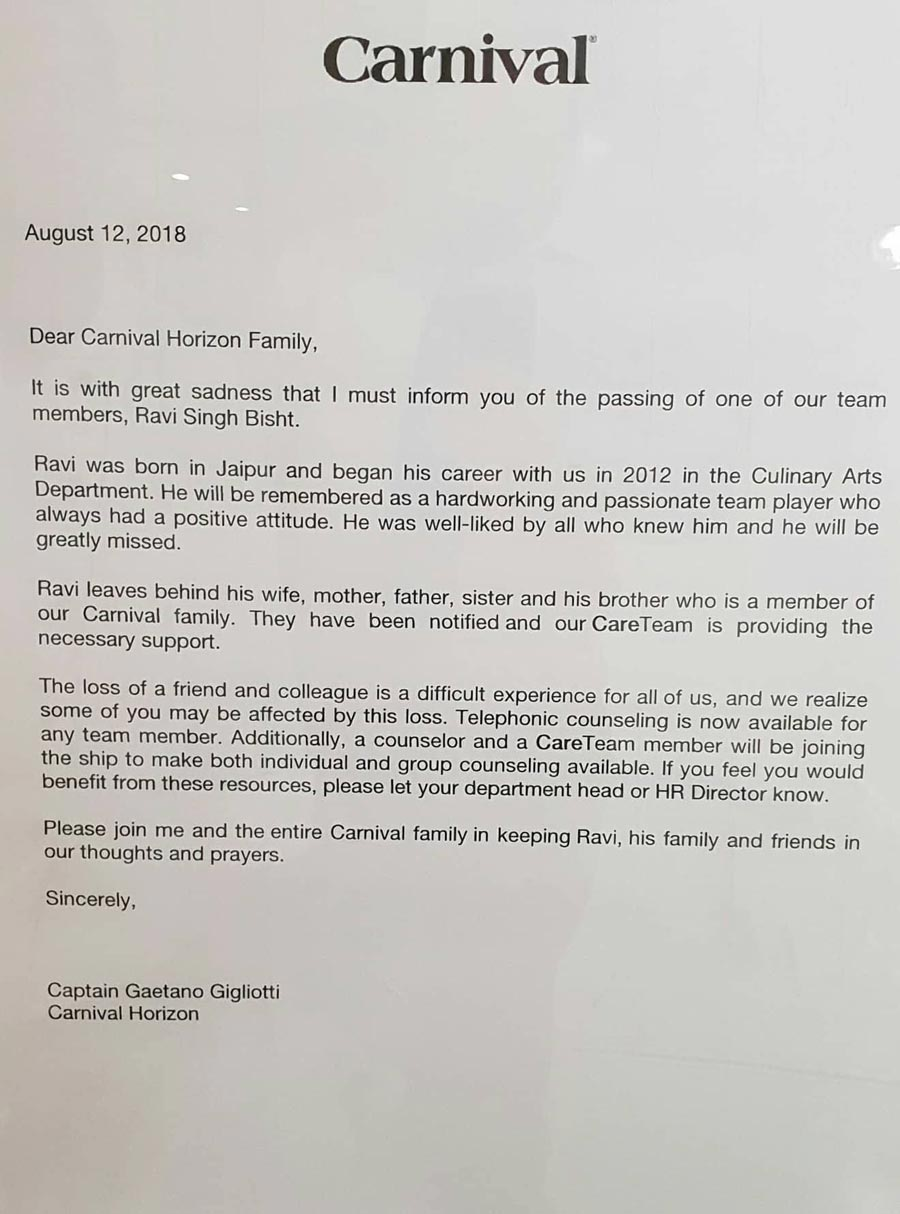 Carnival Horizon letter by the captain