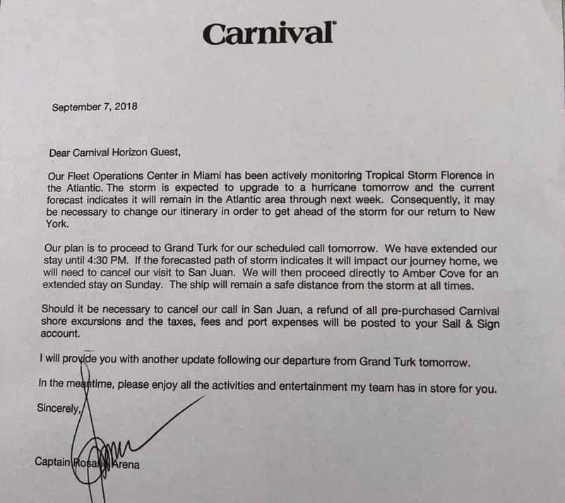 Carnival Horizon Florence letter