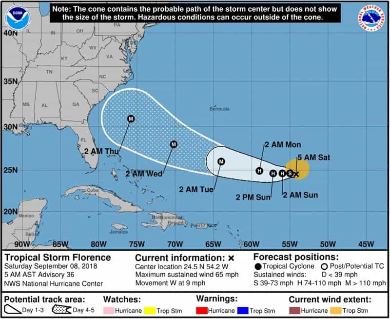 Tropical Storm Florence Update