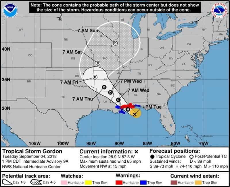 Tropical Storm Gordon Latest