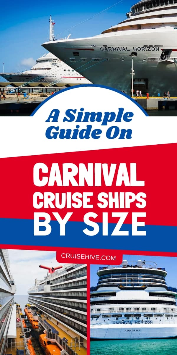 Here's every Carnival cruise ship by size order.  Learn more about the ships with cruise tips and stats.