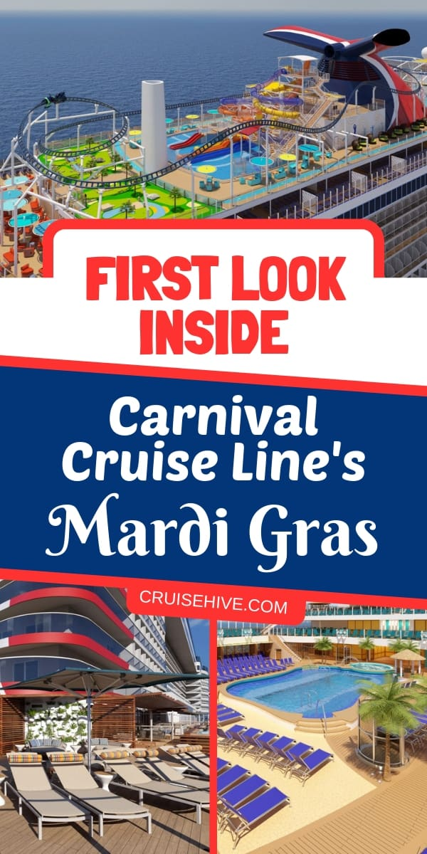 Take a first look inside Carnival Cruise Line's Mardi Gras, a mega cruise ship which is arriving in 2020. More details about dining and public spaces.