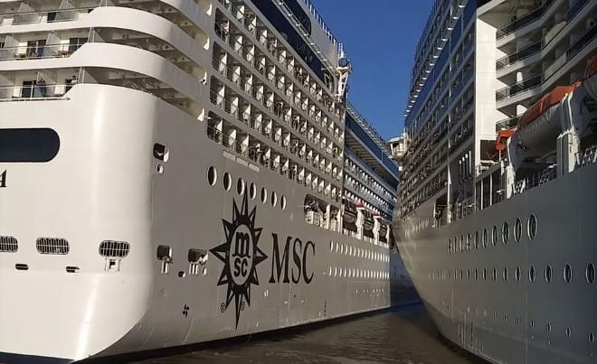 Image result for 2 msc cruise ships collide