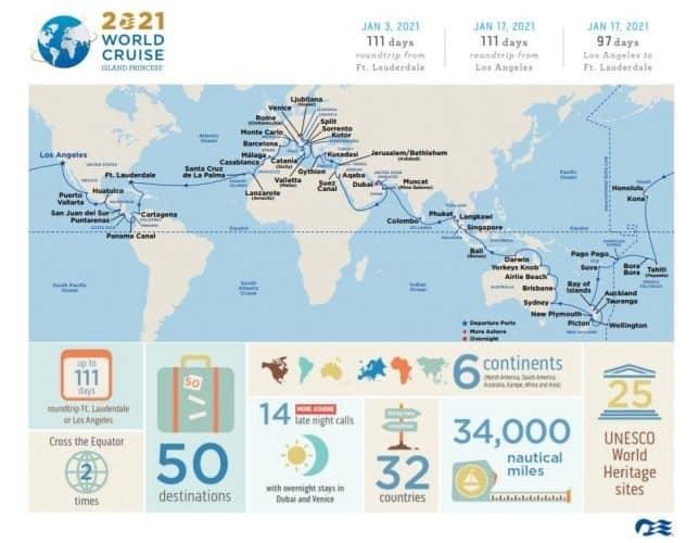 Island princess World Cruise Itinerary