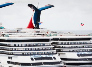 Two Docked Carnival Cruise Ships