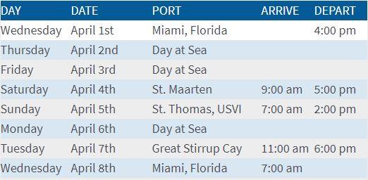 Rock Cruise Itinerary