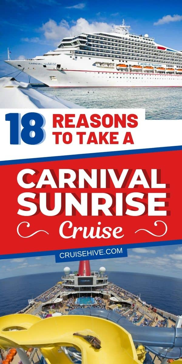 Take a look at these 18 reasons to take a Carnival Sunrise cruise vacation. Covering the best things to on the ship which is operated by Carnival Cruise Line.