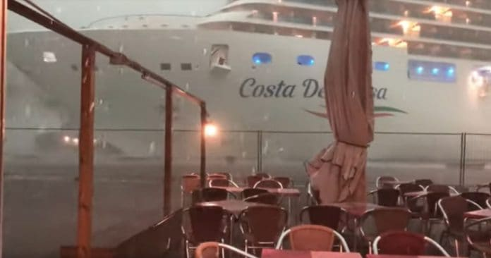 Costa Cruise Ship In Venice Bad Weather