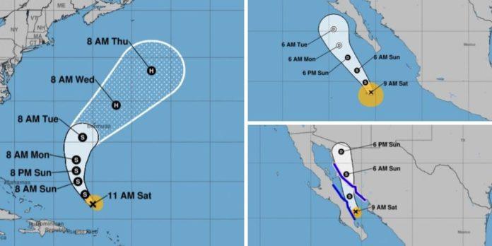 Tropical Storm Jerry, Mario and Hurricane Lorena