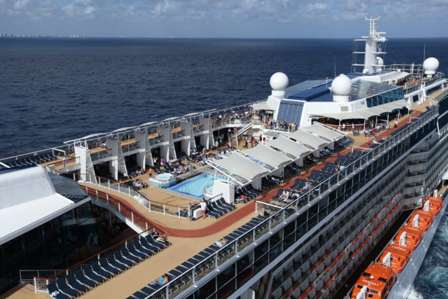 Open deck view of the Celebrity Cruises ship
