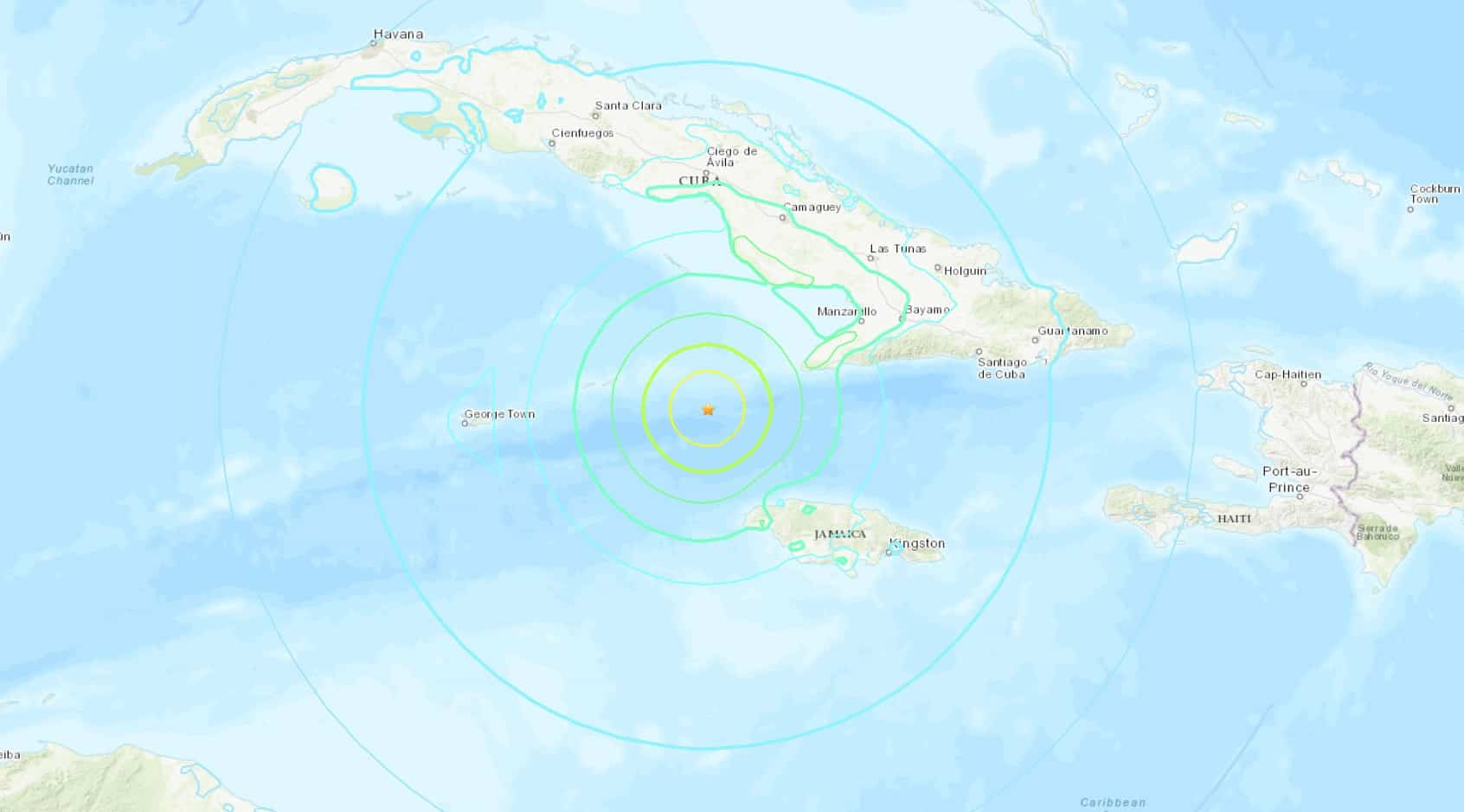 Earthquake Near Jamaica, Caribbean