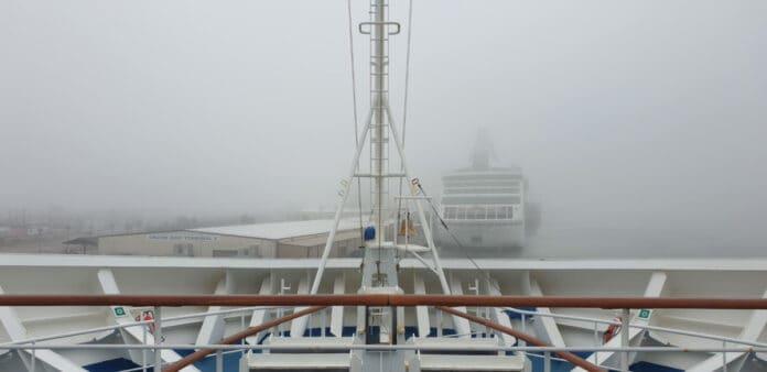 Fog in Galveston from Carnival Cruise Ship