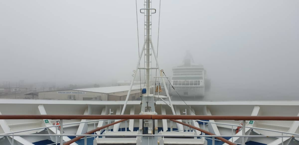 Fog in Galveston from Carnival Cruise Ship
