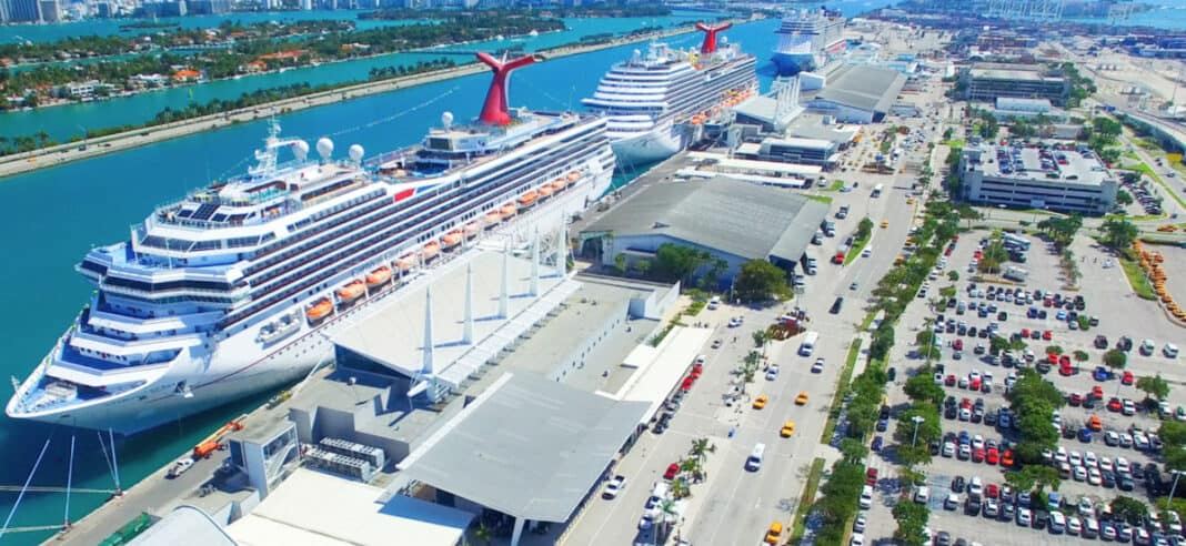Carnival Cruise Ships Docked in Miami at Terminals E and F
