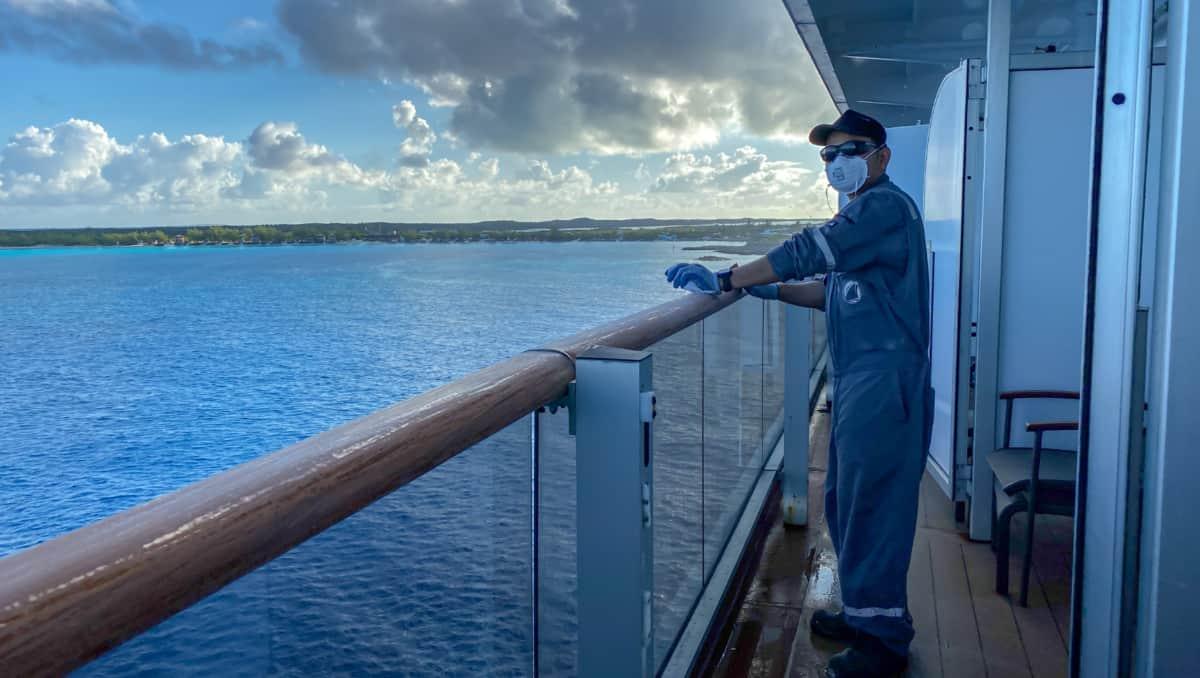 Crew Member Working on Cruise Ship