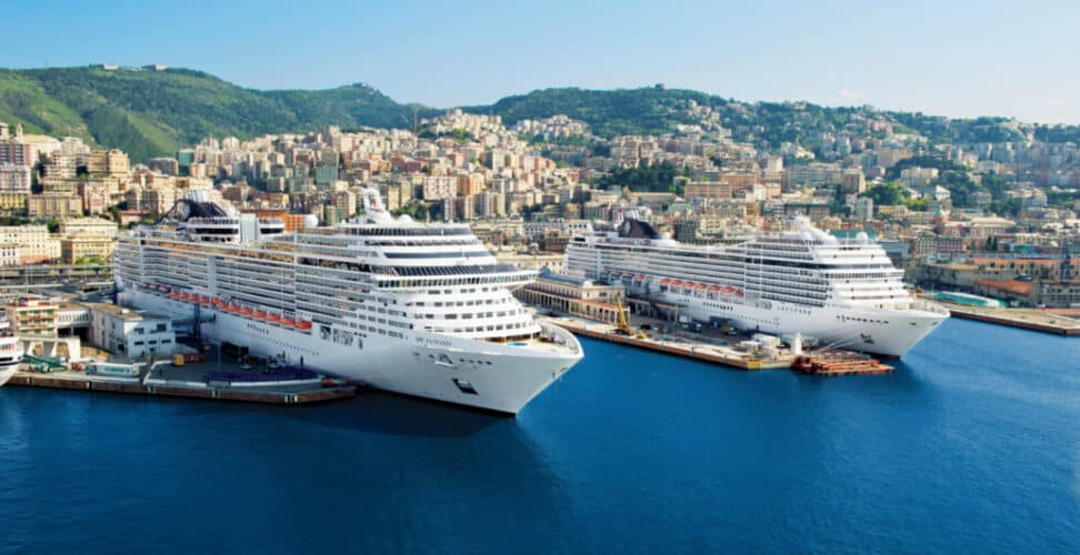 Docked MSC Cruise Ships