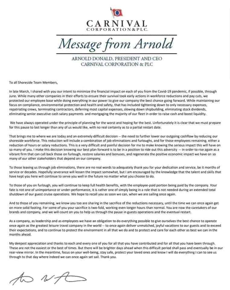 Arnold Donald Letter
