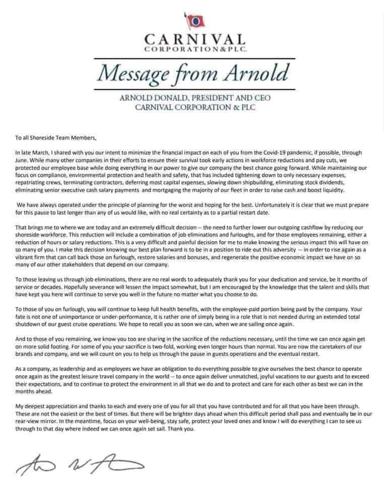 Arnold Donald Letter