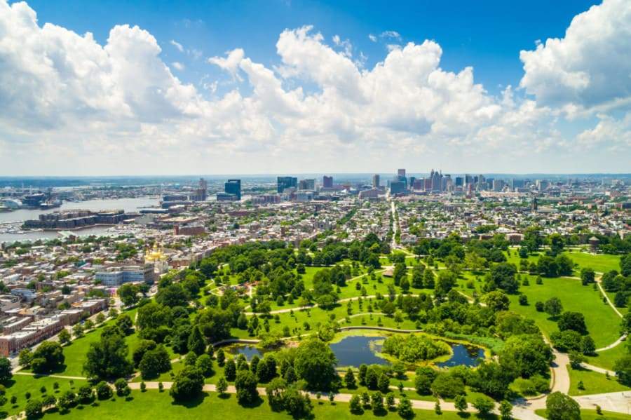 View of Patterson Park in Baltimore, Maryland