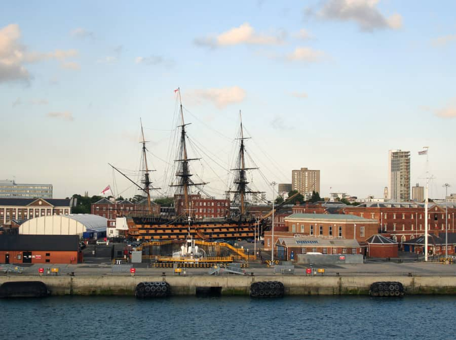 HMS Victory in the historic Naval dockyard of Portsmouth, as seen from the water