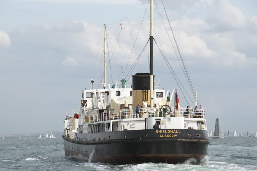Shieldhall a historic steamship underway on The Solent southern England UK
