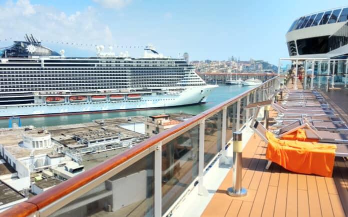 Cruise Ships at Port of Genoa, Italy