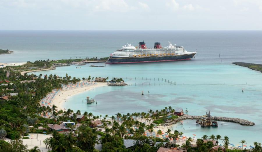 The Disney Wonder docked at Castaway Cay
