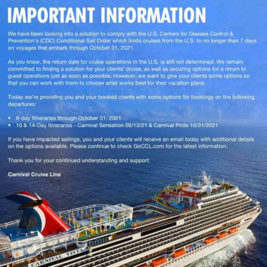 Carnival Longer Sailings Notice to Travel Agents